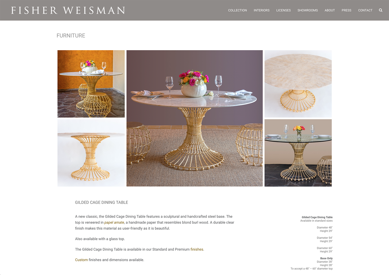 Fisher Weisman Colletction-Gilded Cage Dining Table